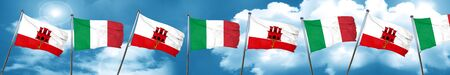 gibraltar flag with Italy flag, 3D rendering Stock Photo