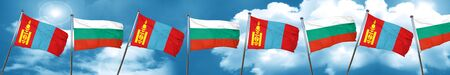 bulgarian: Mongolia flag with Bulgaria flag, 3D rendering