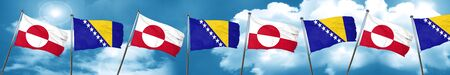 greenland flag with Bosnia and Herzegovina flag, 3D rendering