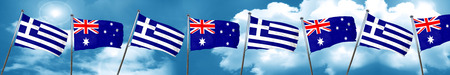Greece flag with Australia flag, 3D rendering Stock Photo