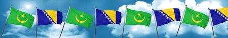 Mauritania flag with Bosnia and Herzegovina flag, 3D rendering Stock Photo