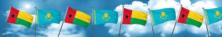 Guinea bissau flag with Kazakhstan flag, 3D rendering