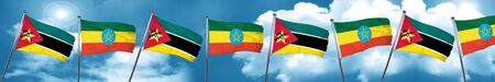 Mozambique flag with Ethiopia flag, 3D rendering
