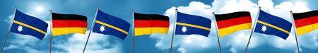 Bandera de Nauru con la bandera de Alemania, representación 3D