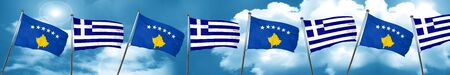 Kosovo flag with Greece flag, 3D rendering
