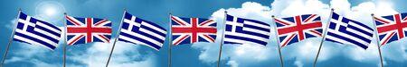 Bandera de Grecia con la bandera de Gran Bretaña, representación 3D Foto de archivo