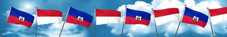 Haiti flag with Indonesia flag, 3D rendering Stock Photo
