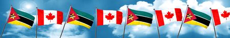Mozambique flag with Canada flag, 3D rendering