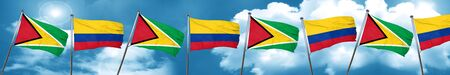 Guyana flag with Colombia flag, 3D rendering Stock Photo