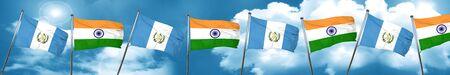 guatemalan: guatemala flag with India flag, 3D rendering