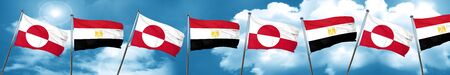 greenland flag with egypt flag, 3D rendering Stock Photo
