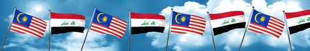 Malaysia flag with Iraq flag, 3D rendering