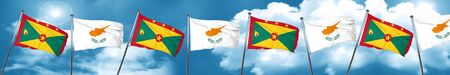 Grenada flag with Cyprus flag, 3D rendering