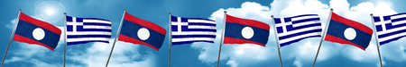 Laos flag with Greece flag, 3D rendering Stock Photo