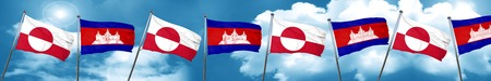 greenland flag with Cambodia flag, 3D rendering