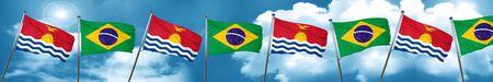 Kiribati flag with Brazil flag, 3D rendering