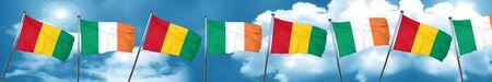 ireland flag: Guinea flag with Ireland flag, 3D rendering Stock Photo