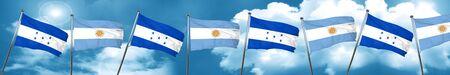 Honduras flag with Argentine flag, 3D rendering