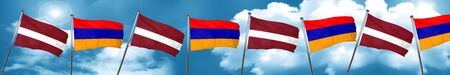 Latvia flag with Armenia flag, 3D rendering