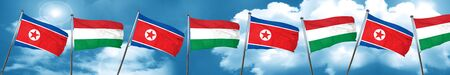 North Korea flag with Hungary flag, 3D rendering