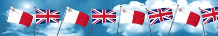 bandera de gran bretaña: Malta flag with Great Britain flag, 3D rendering