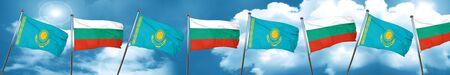 Bandera de Kazajstán con la bandera de Bulgaria, representación 3D