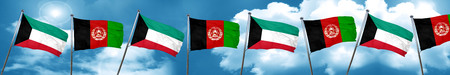 Kuwait flag with afghanistan flag, 3D rendering Stock Photo