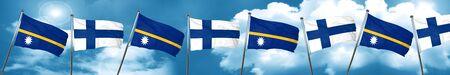 Nauru flag with Finland flag, 3D rendering