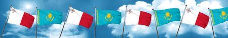 malta: Malta flag with Kazakhstan flag, 3D rendering