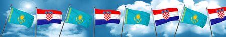 bandera de croacia: Kazakhstan flag with Croatia flag, 3D rendering Foto de archivo
