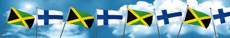 finnish: Jamaica flag with Finland flag, 3D rendering Stock Photo