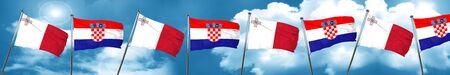 Malta flag with Croatia flag, 3D rendering