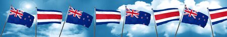 New zealand flag with Costa Rica flag, 3D rendering Stock Photo