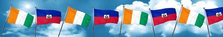 combines: Bandera de Costa de Marfil con la bandera de Haití, representación 3D