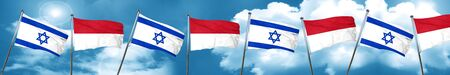 Israel flag with Indonesia flag, 3D rendering