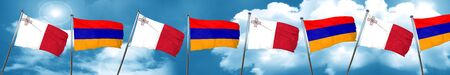 malta: Malta flag with Armenia flag, 3D rendering Stock Photo