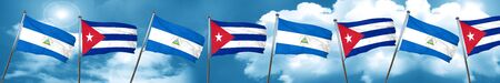 nicaragua: nicaragua flag with cuba flag, 3D rendering