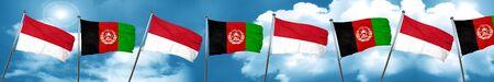 Bandera de Mónaco con la bandera de Afganistán, 3D