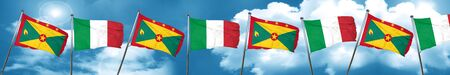 grenada: Grenada flag with Italy flag, 3D rendering Stock Photo