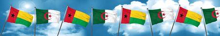 Guinea bissau flag with Algeria flag, 3D rendering