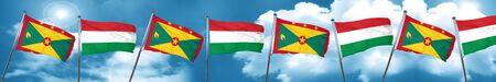 grenada: Grenada flag with Hungary flag, 3D rendering Stock Photo