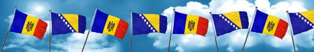 Moldova flag with Bosnia and Herzegovina flag, 3D rendering Stock Photo