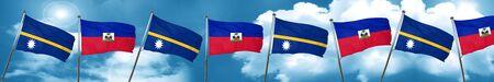 Nauru flag with Haiti flag, 3D rendering Stock Photo