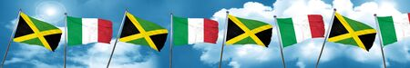 jamaican: Jamaica flag with Italy flag, 3D rendering