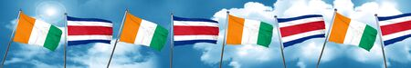 Ivory coast flag with Costa Rica flag, 3D rendering