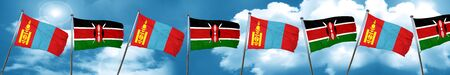 Mongolia flag with Kenya flag, 3D rendering