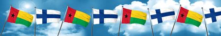 Guinea bissau flag with Finland flag, 3D rendering