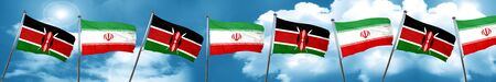 Kenya flag with Iran flag, 3D rendering