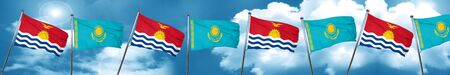 Kiribati flag with Kazakhstan flag, 3D rendering Stock Photo