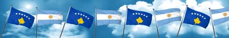 Kosovo flag with Argentine flag, 3D rendering